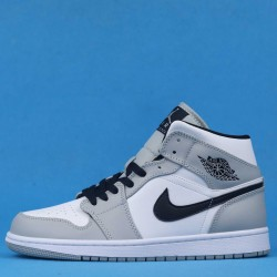 "Air Jordan 1 Mid ""Light Smoke Grey"" White Gray Black 554724-092 36-46"