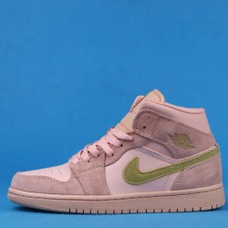 "Air Jordan 1 Mid ""Coral Gold"" Pink Brown 852542-600 36-46"