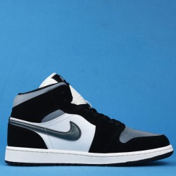 "Air Jordan 1 Mid ""Satin Gray"" Black Blue White 852542-011 36-46"