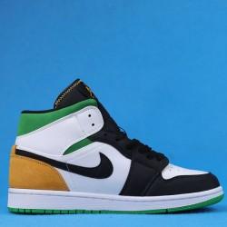 "Air Jordan 1 Mid ""Oakland"" White Yellow Green 852542-101 36-46"