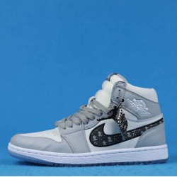 Air Jordan 1 Mid Gray Black White 36-46