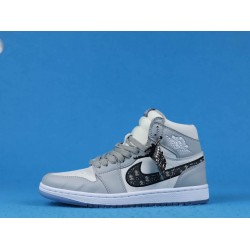 Dior x Air Jordan 1 Mid Gray Black White 36-46