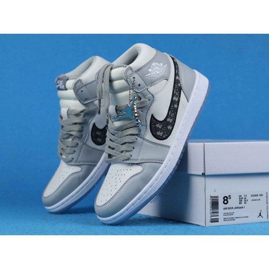Sale Dior x Air Jordan 1 Mid Gray Black White 36-46 Shoes