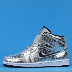 "FaceTasm x Air Jordan 1 Mid ""Disco Ball"" Silver Black CU9304-001 36-46"
