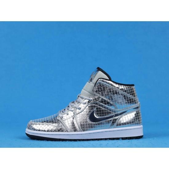 """Sale FaceTasm x Air Jordan 1 Mid """"Disco Ball"""" Silver Black CU9304-001 36-46 Shoes"""