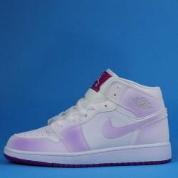 """Air Jordan 1 Mid """"Fuchsia"""" White Purple 555112-100 36-40"""