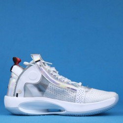 "Air Jordan 34 ""Iridescent"" White Silver BQ3384-101 40-46"