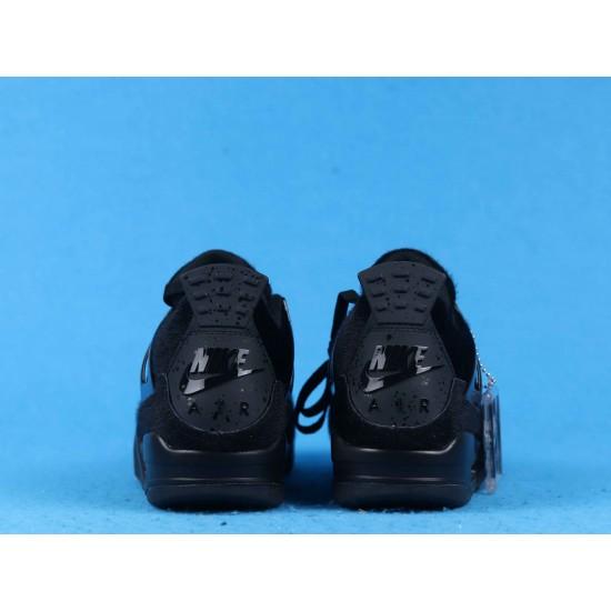 "Sale Air Jordan 4 ""No Cover"" Pony Hair Black Cat Triple Black CK2925-001 40-46 Shoes"