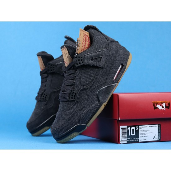 "Sale Levis x Air Jordan 4 ""Denim Black"" Brown Black AO2571-001 40-46 Shoes"