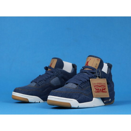 "Sale Levis x Air Jordan 4 ""Denim"" White Blue Brown AO2571-401 40-46 Shoes"