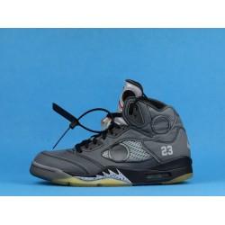 "Off White x Air Jordan 5 ""Muslin"" Fire Red Black CT8480-001 40-46"