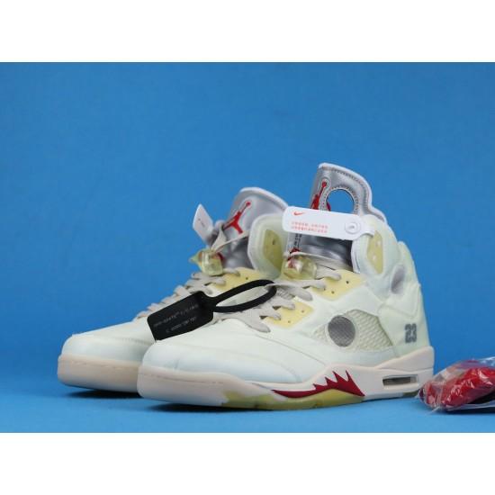 Off White x Air Jordan 5 White Red CT8480-002 40-46