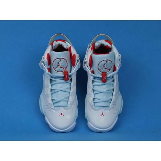 Air Jordan 6 Rings Topaz Mist White Blue Red 323399-104 36-40